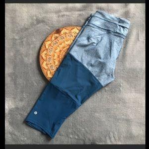 Lululemon Training Tough Crop Pants - Blue Mesh